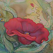 """Картины и панно ручной работы. Ярмарка Мастеров - ручная работа Батик """"Цветок"""". Handmade."""