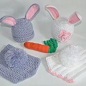 Работы для детей, ручной работы. Ярмарка Мастеров - ручная работа Костюмчик зайка, комплект для фотосессии новорожденных зайчик. Handmade.