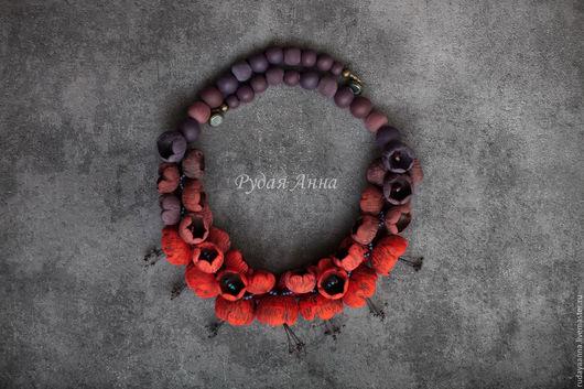 """Колье, бусы ручной работы. Ярмарка Мастеров - ручная работа. Купить """"Красный в пурпуре"""". Колье из полимерной глины.. Handmade."""