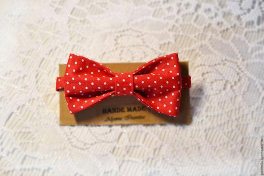 Галстуки, бабочки ручной работы. Ярмарка Мастеров - ручная работа. Купить галстук-бабочка  Красная в горошек. Handmade. Ярко-красный