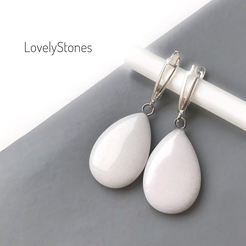 Earrings white drops of jadeite on the locks silver white delicate drops, Earrings, Yaroslavl,  Фото №1