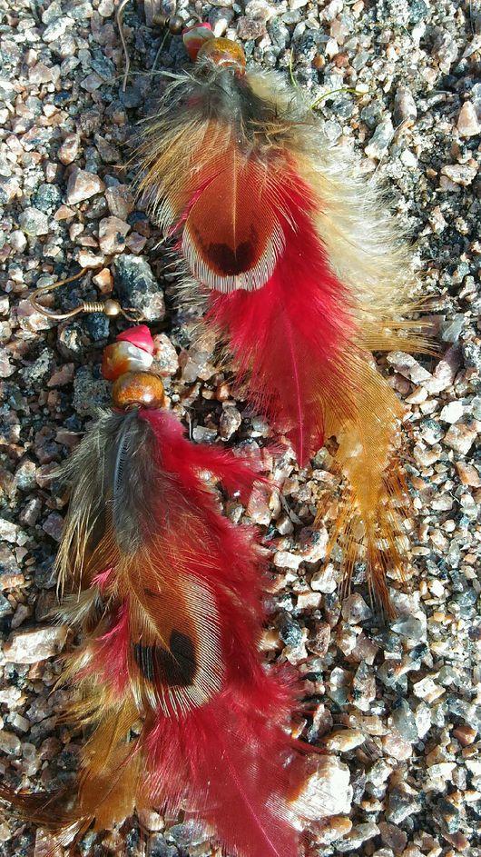 Новый год 2017 ручной работы. Ярмарка Мастеров - ручная работа. Купить Серьги с перьми. Handmade. Серьги с перьями, натуральные камни