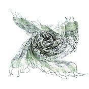 Аксессуары ручной работы. Ярмарка Мастеров - ручная работа Парео из натурального 100% шелка светло-зеленого оттенка. Handmade.