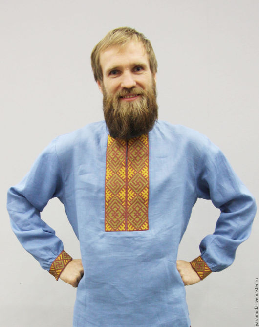 Одежда ручной работы. Ярмарка Мастеров - ручная работа. Купить Вышиванка мужская.. Handmade. Синий, Вышивка крестом