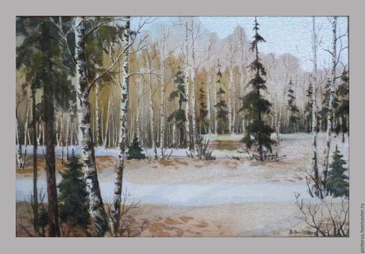 акварель на шёлке, весенний пейзаж, весна, природа, лес. Автор Вячеслав Захаров.