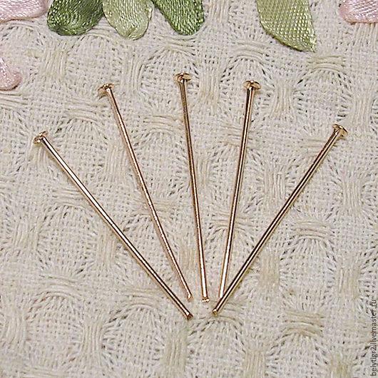 пины гвоздики, 30 х 0,7 мм, сплав меди, цвет розовое золото, 10 шт