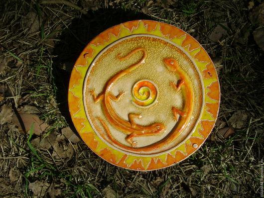 Символизм ручной работы. Ярмарка Мастеров - ручная работа. Купить Панно Саламандры Керамика. Handmade. Керамика, свет, огненный