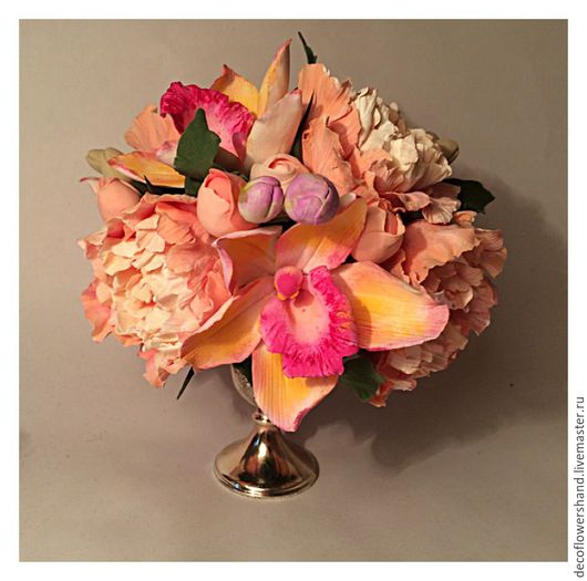 Цветы ручной работы. Ярмарка Мастеров - ручная работа. Купить букет с пионами и орхидеи цимбидиум. Handmade. Комбинированный, новогодний сувенир
