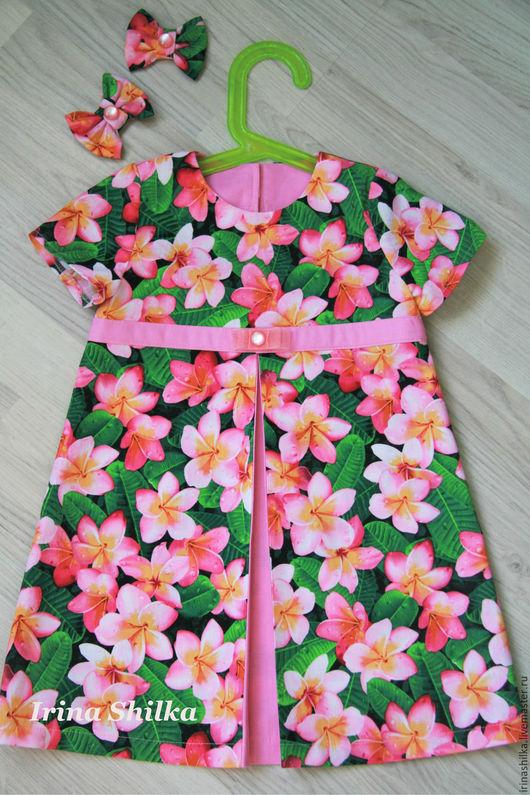 """Одежда для девочек, ручной работы. Ярмарка Мастеров - ручная работа. Купить Платье """"Розовые цветы"""". Handmade. Розовый, хлопковое платье"""
