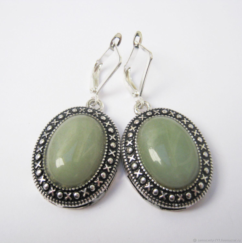 Beautiful earrings ' green aventurine', Earrings, Feodosia,  Фото №1