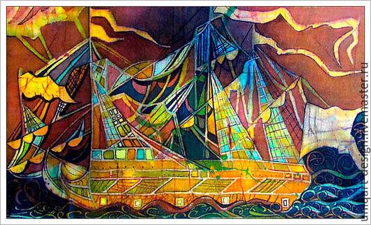 Батик «Корабль». Декоративное панно. Ручная роспись по ткани. Техника горячий батик.