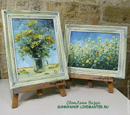 """Картины цветов ручной работы. Ярмарка Мастеров - ручная работа. Купить Картины маслом """"Желтые цветы"""" (миниатюры, диптих, серия). Handmade."""