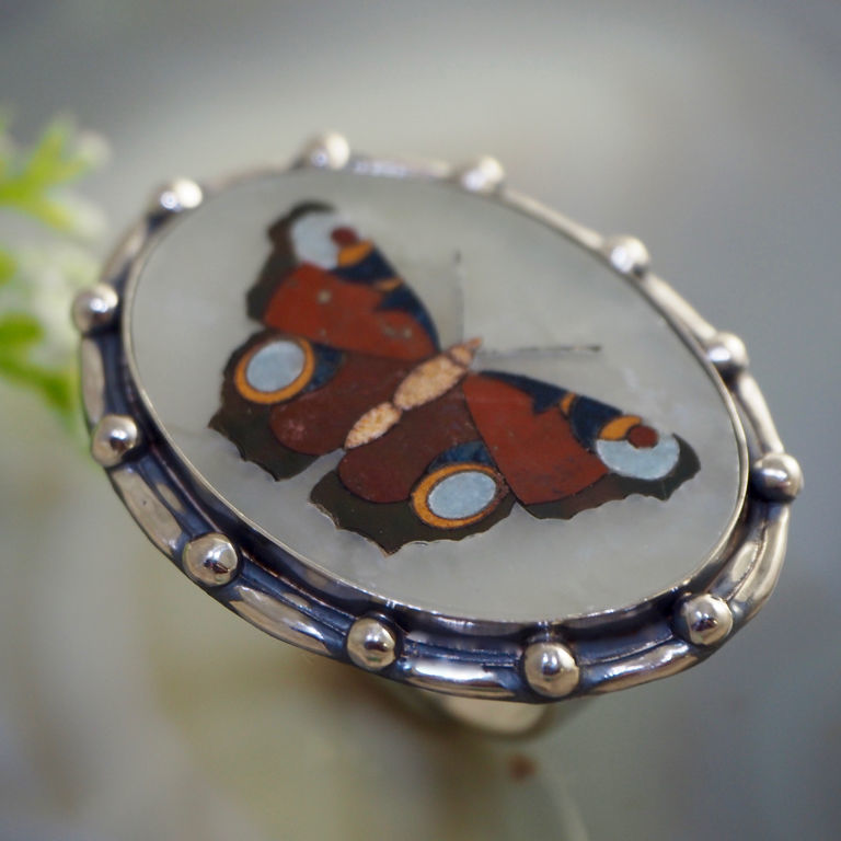 Ring 'Butterfly' - the Florentine mosaic silver, Rings, Prague,  Фото №1