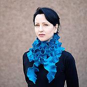 Аксессуары ручной работы. Ярмарка Мастеров - ручная работа Бирюзовый длинный волнистый валяный шарф боа. Handmade.