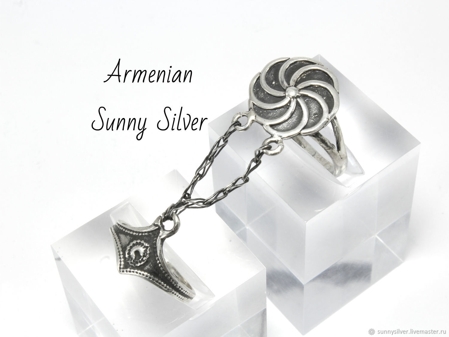 Double Infinity ring with chains made of 925 silver HH0143 (VIDEO), All finger ring, Yerevan,  Фото №1