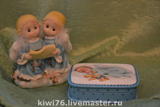 """Шкатулки ручной работы. Ярмарка Мастеров - ручная работа. Купить Шкатулка """"Мой малыш"""". Handmade. Декупаж, шкатулка декупаж, синий"""
