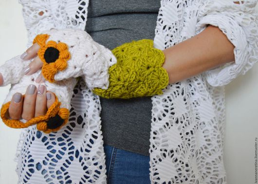 """Варежки, митенки, перчатки ручной работы. Ярмарка Мастеров - ручная работа. Купить Митенки """"Сонях"""". Handmade. Белый, женские митенки"""