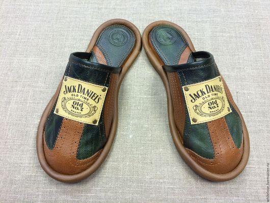 """Обувь ручной работы. Ярмарка Мастеров - ручная работа. Купить Кожаные тапочки """" Джек Дениалс- грин"""". Handmade."""