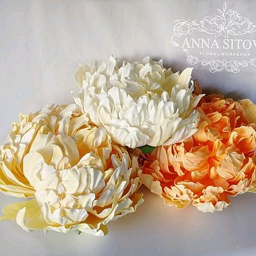 Дизайн и реклама ручной работы. Ярмарка Мастеров - ручная работа Светящийся цветок оранжевый пион осень2019 украшение витрины интерьер. Handmade.