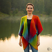 Одежда handmade. Livemaster - original item Knitted cardigan Origami from County Wool Cape for women. Handmade.