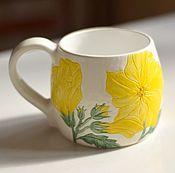 Посуда ручной работы. Ярмарка Мастеров - ручная работа Кружка с желтым цветком. Handmade.