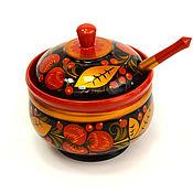 handmade. Livemaster - original item Painted sugar bowl with a spoon D10,5, 11 H . vase for jam. Handmade.