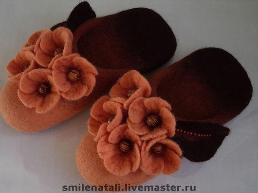 """Обувь ручной работы. Ярмарка Мастеров - ручная работа. Купить Тапочки """"Рыжики """". Handmade. Домашние тапочки, подарок женщине"""