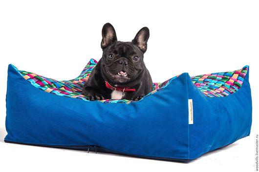 """Аксессуары для собак, ручной работы. Ярмарка Мастеров - ручная работа. Купить Лежанка  """"Северное сияние"""" 60х60 см. Handmade. Синий"""