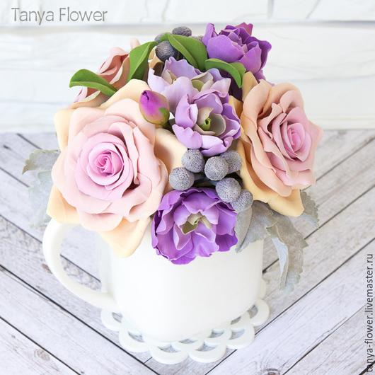 Букеты ручной работы. Ярмарка Мастеров - ручная работа. Купить Винтажный букет с розами, маттиолой и брунией в молочнике. Handmade.