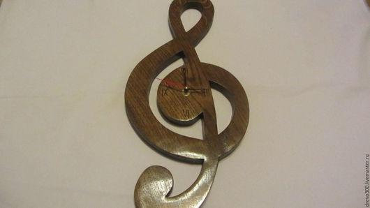 """Часы для дома ручной работы. Ярмарка Мастеров - ручная работа. Купить Часы """"Скрипичный ключ"""". Handmade. Коричневый, музыка, Дуб"""