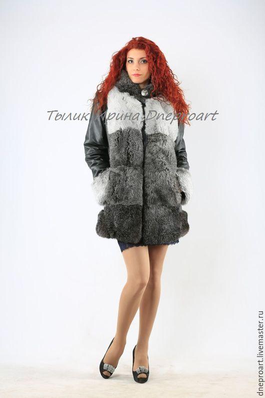 Верхняя одежда ручной работы. Ярмарка Мастеров - ручная работа. Купить Куртка кожаная с капюшоном и мехом серебристого кролика. Handmade.