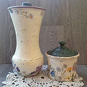 Для дома и интерьера ручной работы. Ярмарка Мастеров - ручная работа Крынка банка глиняная для хранения на кухне Полевые цветы винтаж кантр. Handmade.