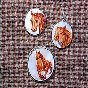 """Украшения ручной работы. Ярмарка Мастеров - ручная работа """"Рыжие лошади"""" - комплект с росписью. Handmade."""