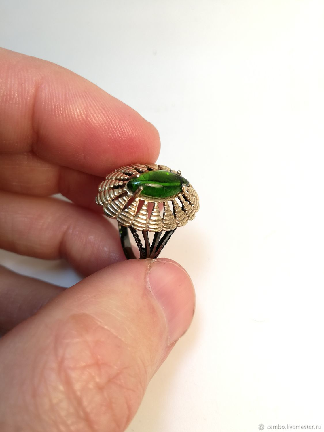Designer ring with chrome diopside, cabachon Marquis cut, Rings, Moscow,  Фото №1