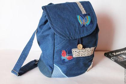 """Рюкзаки ручной работы. Ярмарка Мастеров - ручная работа. Купить Джинсовый рюкзак """"Бабочки"""". Handmade. Джинсовый стиль, сумка для школы"""