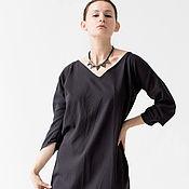 Одежда ручной работы. Ярмарка Мастеров - ручная работа Платье темно-серое с архитектурным рукавом. Handmade.