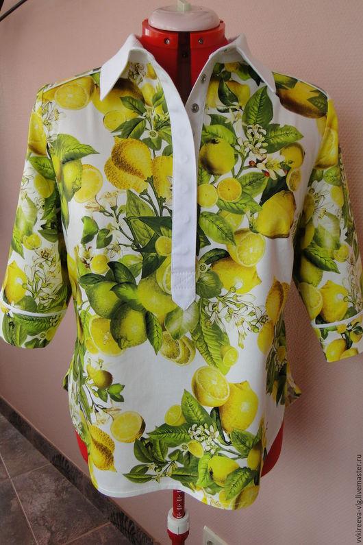 Блузки ручной работы. Ярмарка Мастеров - ручная работа. Купить рубашка из сатина DG. Handmade. Белый, сатин-стрейч