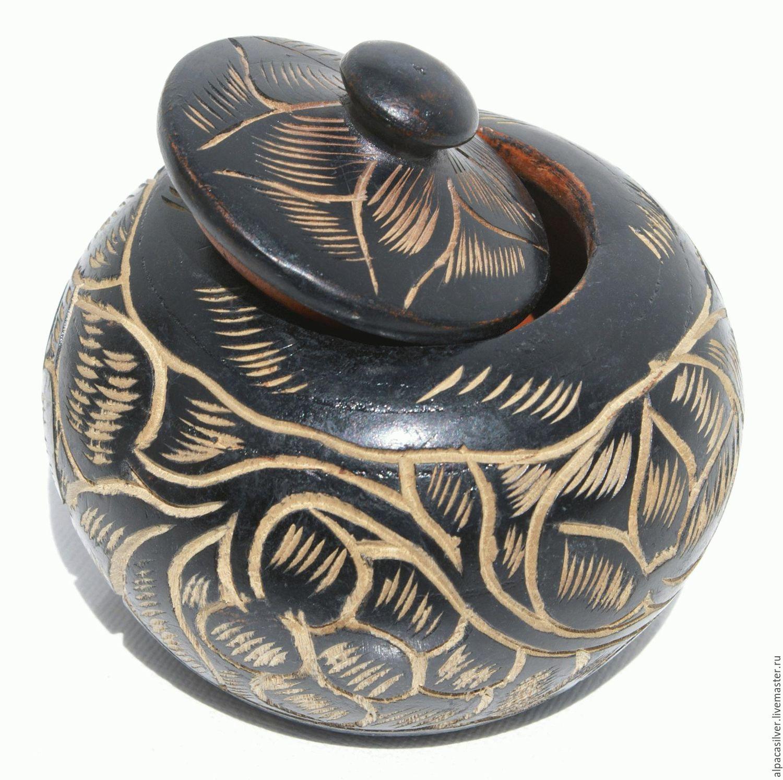 Деревянная чёрная чашка с узором, размер 9 х 8 см