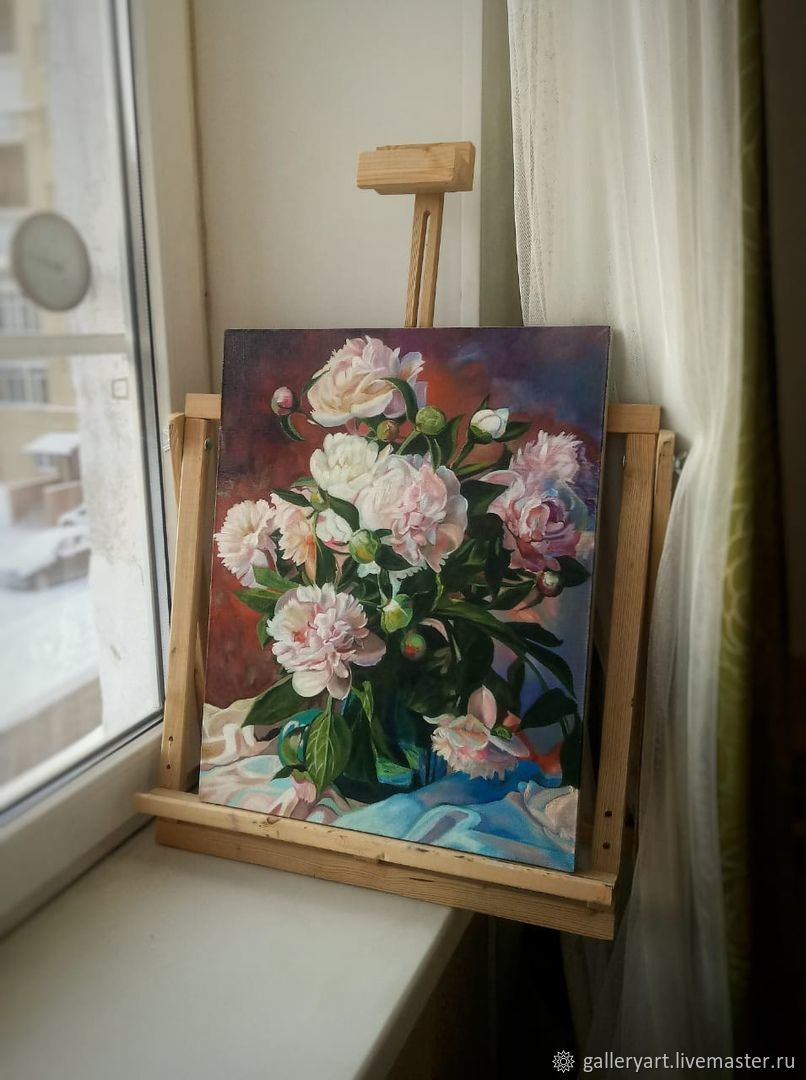 The painting 'Peonies in a glass vase', Pictures, St. Petersburg,  Фото №1