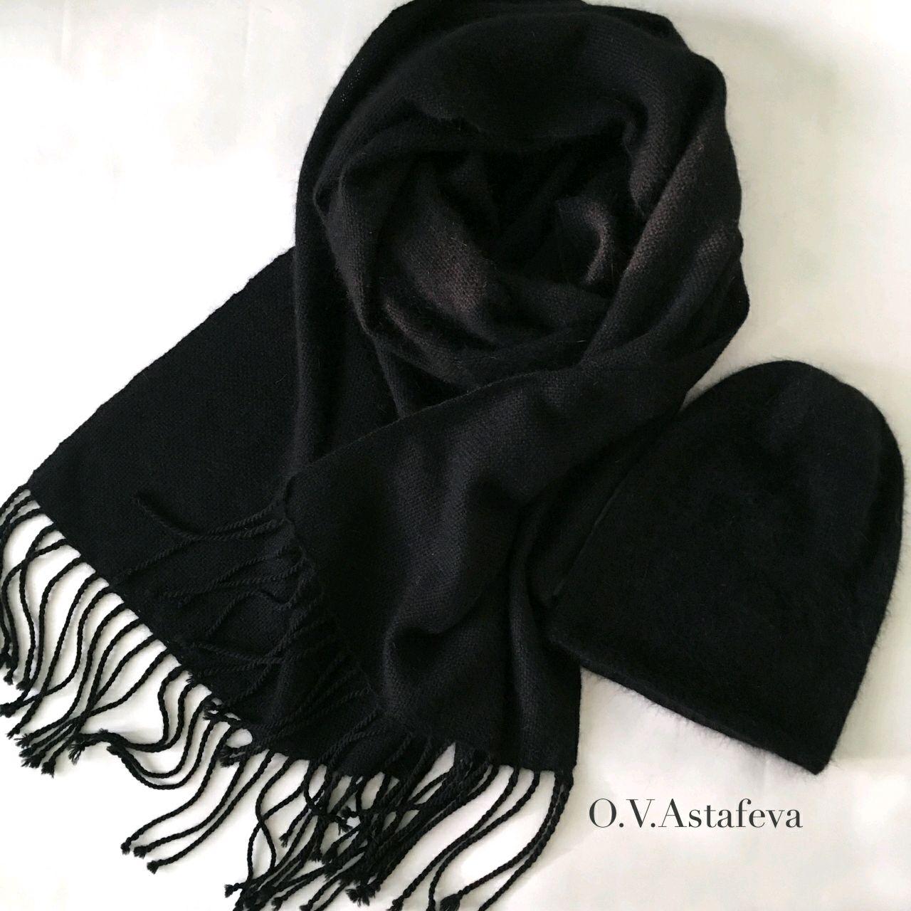 Комплекты аксессуаров ручной работы. Ярмарка Мастеров - ручная работа. Купить Комплект вязаная шапка-бини и тканый шарф из ангоры. Handmade.