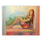 Картины и панно handmade. Livemaster - original item Picture of the girl on the window. Handmade.