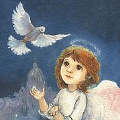 Подарки к праздникам handmade. Livemaster - original item Christmas card angel and dove. Handmade.