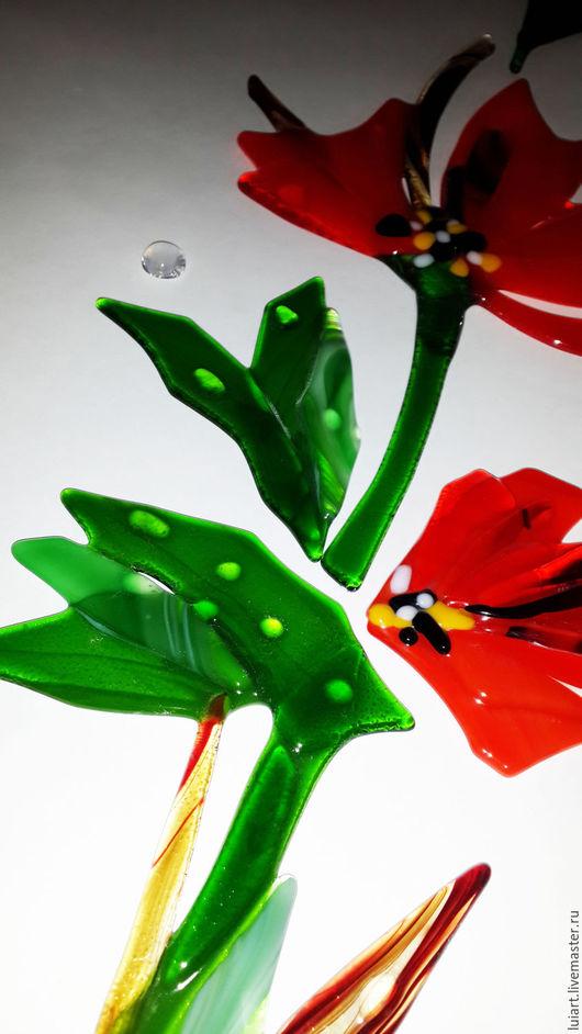 Элементы интерьера ручной работы. Ярмарка Мастеров - ручная работа. Купить декор для зеркал и окон красные цветы. Handmade.