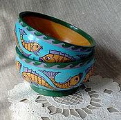 """Посуда ручной работы. Ярмарка Мастеров - ручная работа Миска деревянная """"Речные рыбки"""". Handmade."""