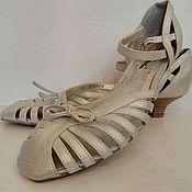 Винтаж ручной работы. Ярмарка Мастеров - ручная работа Босоножки туфельки серебряные башмачки на 39 размер новые. Handmade.