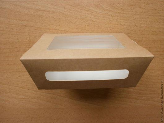 Коробка из крафт-картона для упаковки хендмейд изделий, не требует склеивания.