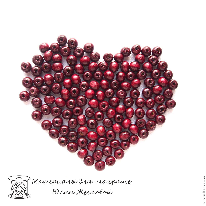 Бусины деревянные 6х5 мм вишневые круглые 50 штук, Бусины, Нижний Новгород,  Фото №1