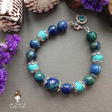 Decorations handmade. Livemaster - original item --30% Beautiful earth Power bracelet turquoise blue. Handmade.