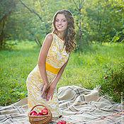 """Одежда ручной работы. Ярмарка Мастеров - ручная работа """"Девушка Солнце"""" шелковое платье с кружевом. Handmade."""
