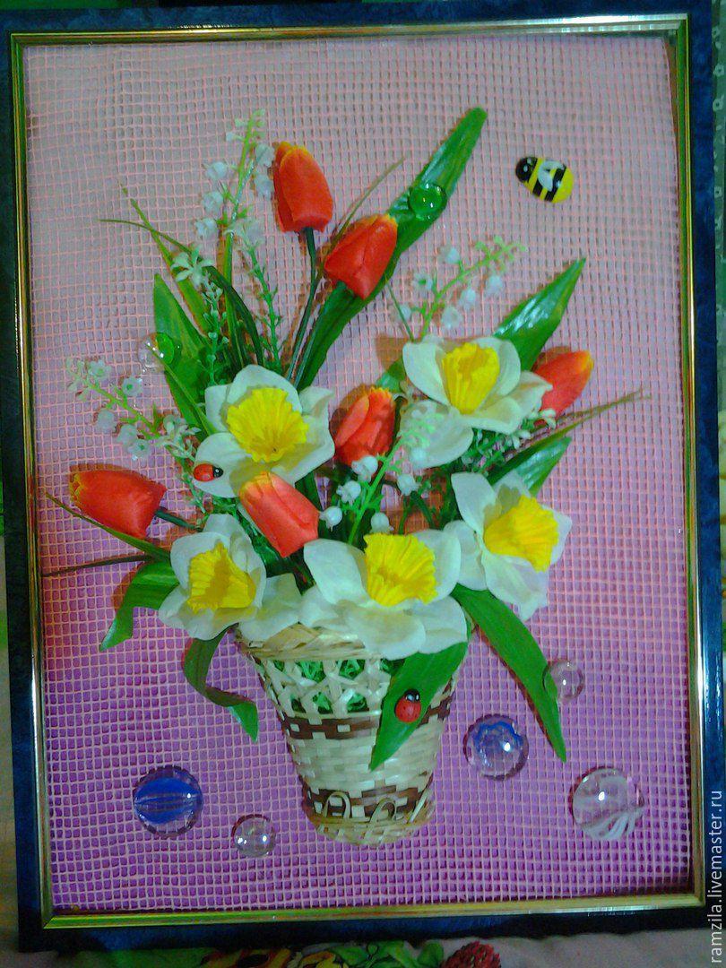 Панно из искусственных цветов, Картины, Уфа, Фото №1